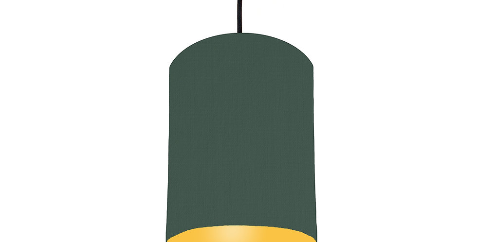 Bottle Green & Butter Yellow Lampshade - 15cm Wide