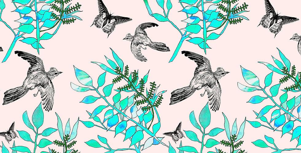 Botanical Bird Velvet Fabric - Pink