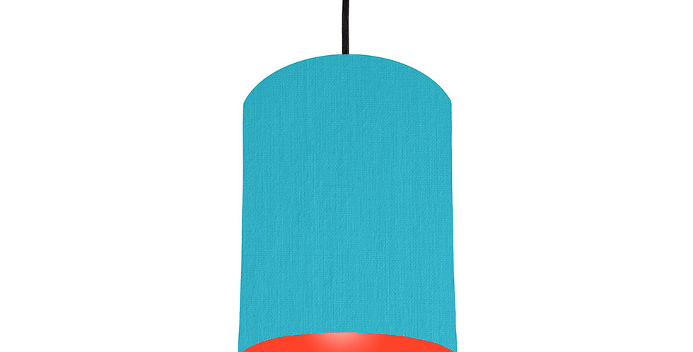 Turquoise & Poppy Red Lampshade - 15cm Wide