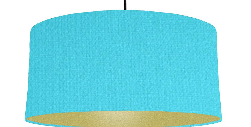 Turquoise & Gold Matt Lampshade - 60cm Wide