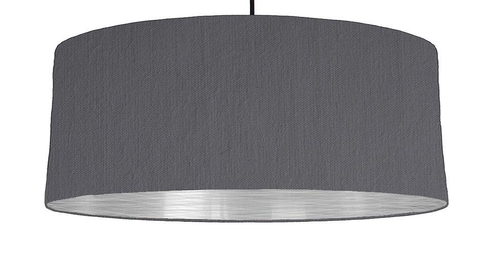 Dark Grey & Brushed Silver Lampshade - 70cm Wide