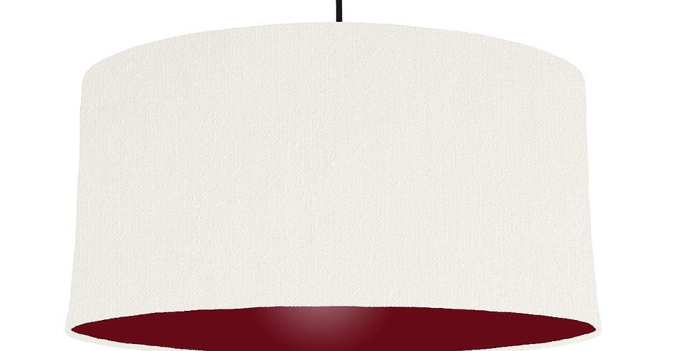 White & Burgundy Lampshade - 60cm Wide