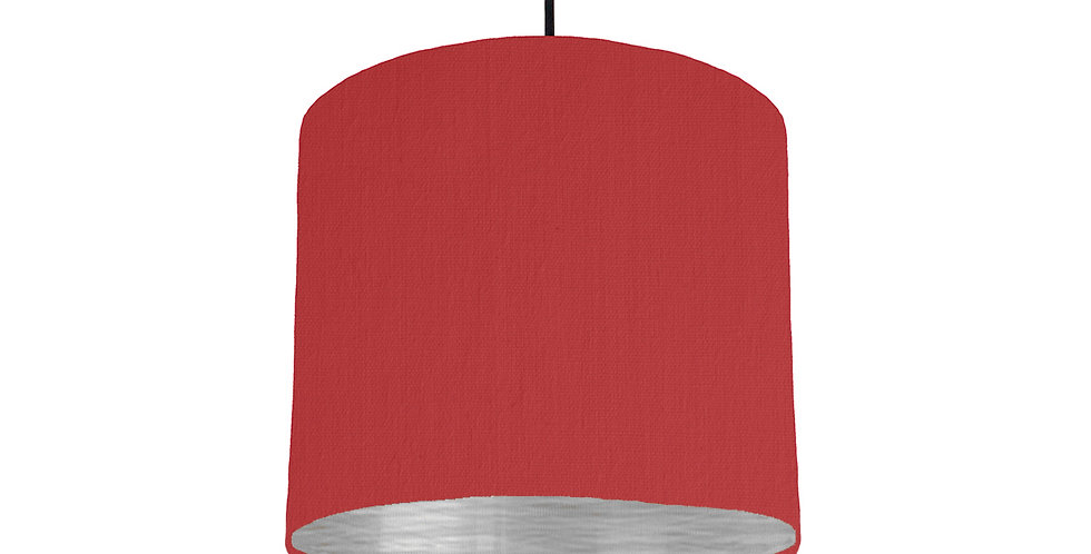 Red & Brushed Silver Lampshade - 25cm Wide