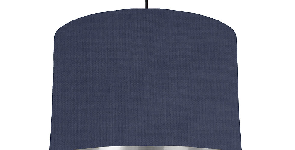 Navy & Silver Mirrored Lampshade - 30cm Wide