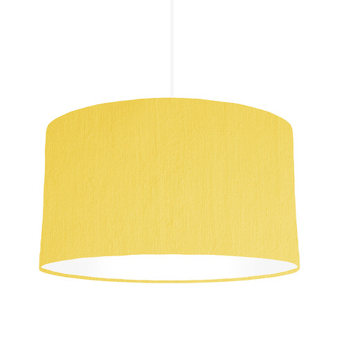 Lemon white 50cm wide bymarie bespoke lampshade designer lemon yellow drum lampshade with white inside lining 50cm wide x 30cm height as shown in image mozeypictures Image collections