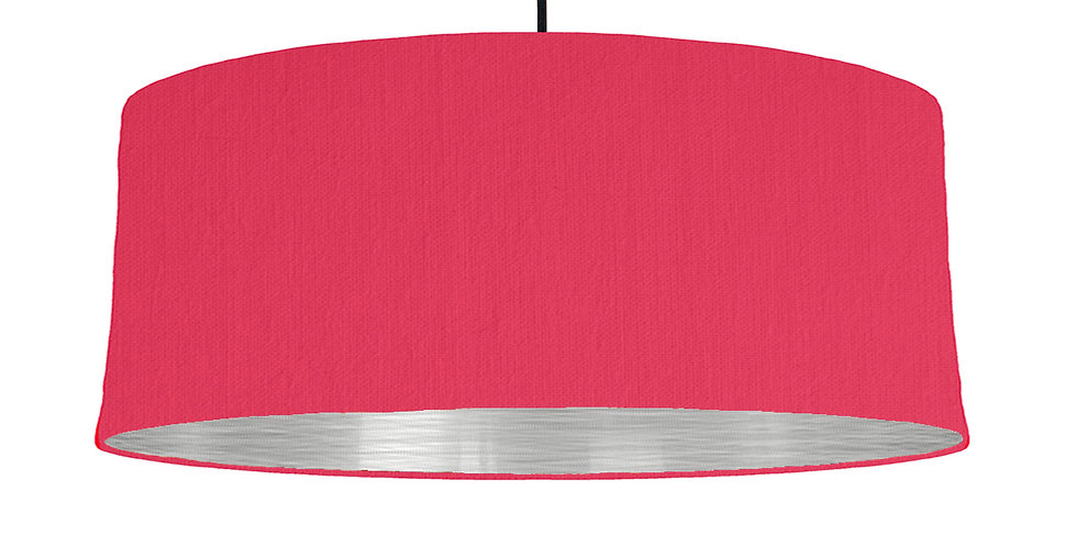 Cerise & Brushed Silver Lampshade - 70cm Wide