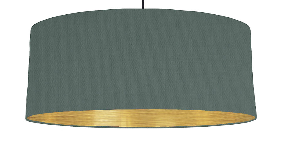 Bottle Green & Brushed Gold Lampshade - 70cm Wide