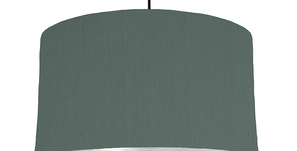 Bottle Green & Brushed Silver Lampshade - 50cm Wide