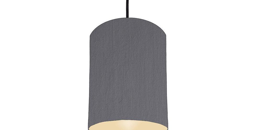 Dark Grey & Ivory Lampshade - 15cm Wide