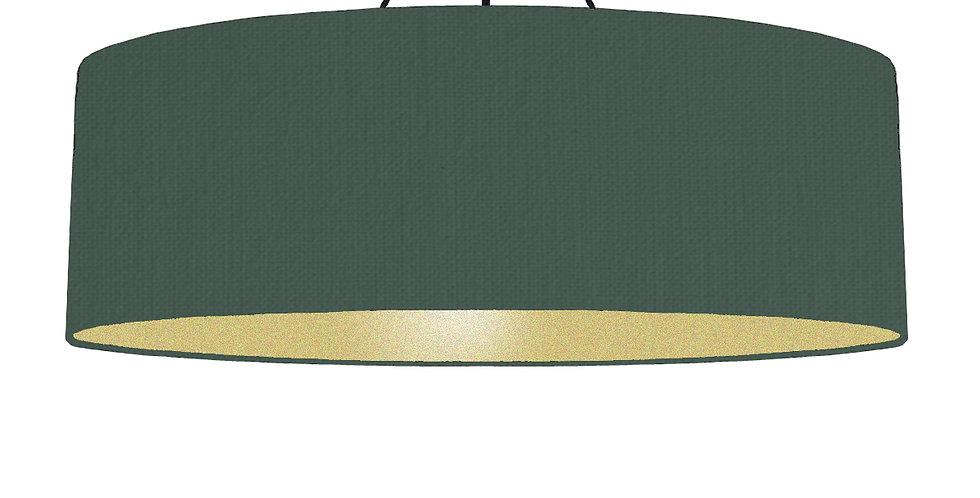 Bottle Green & Gold Matt Lampshade - 100cm Wide