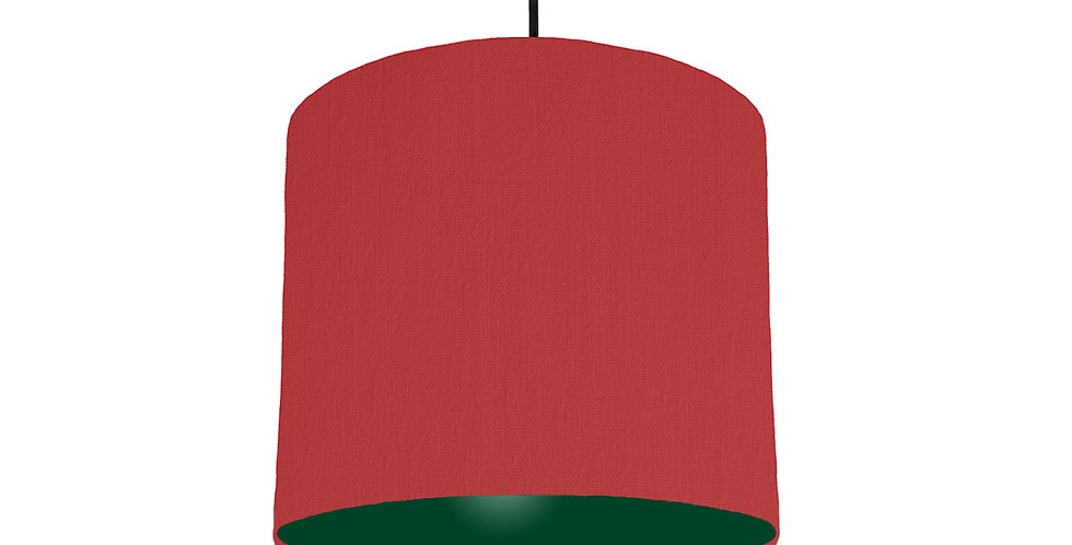 Red & Forest Green Lampshade - 25cm Wide