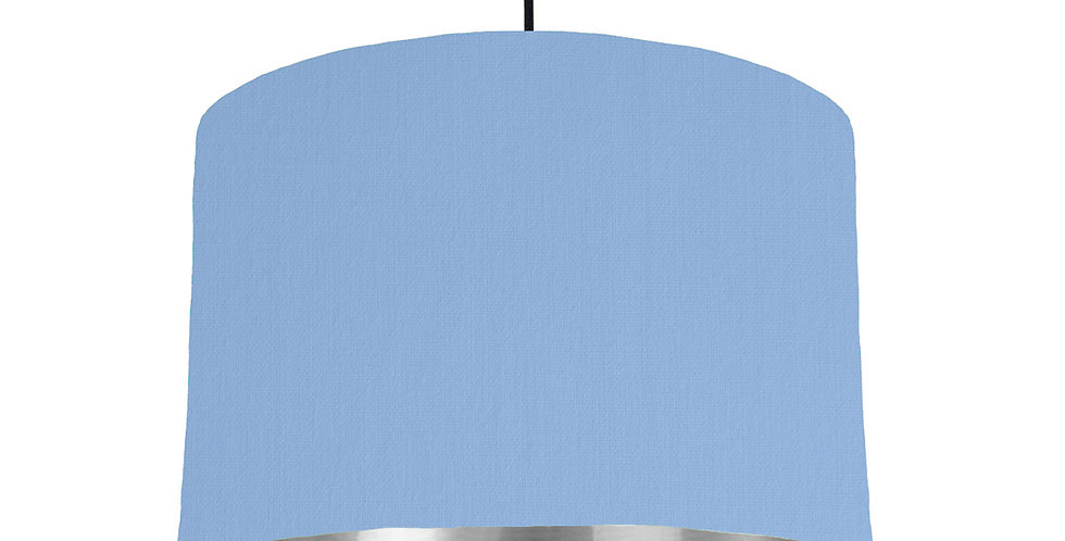 Sky Blue & Silver Mirrored Lampshade - 30cm Wide