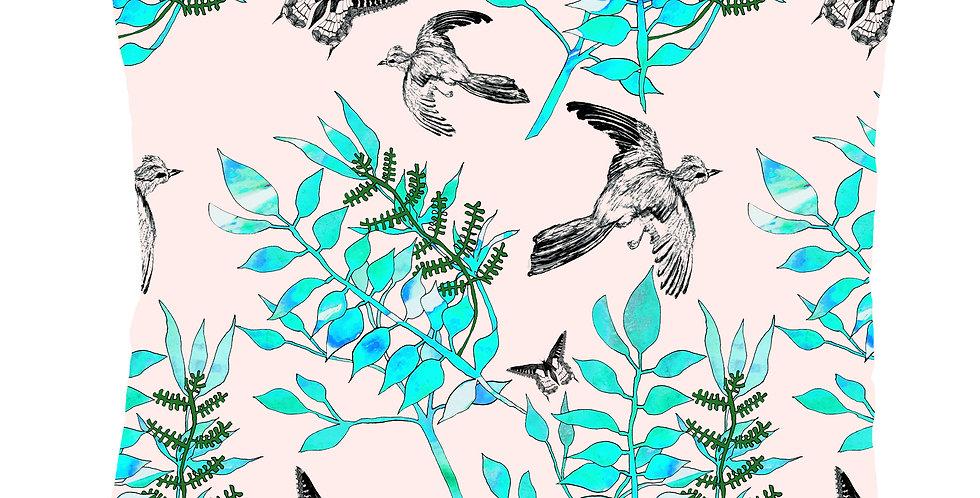 Botanical Bird Velvet Cushion - Pink