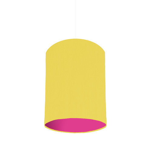 Lemon lampshade with a choice of lining colour 20cm wide lemon yellow drum lampshade with a choice of colour inside linings lemon yellow fabric magenta pink matt lining is shown in the image mozeypictures Image collections