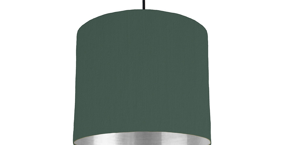 Bottle Green & Silver Mirrored Lampshade - 25cm Wide