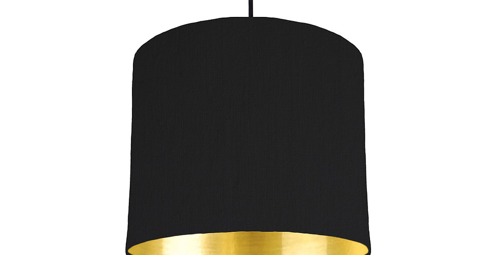 Black & Gold Mirrored Lampshade - 25cm Wide