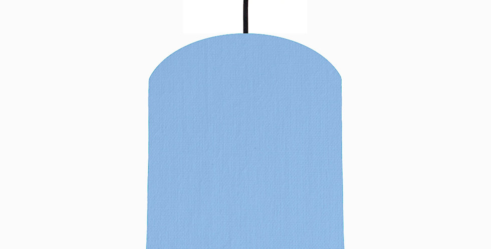 Sky Blue & Brushed Silver Lampshade - 20cm Wide