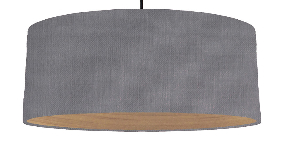 Dark Grey & Wooden Lined Lampshade - 70cm Wide