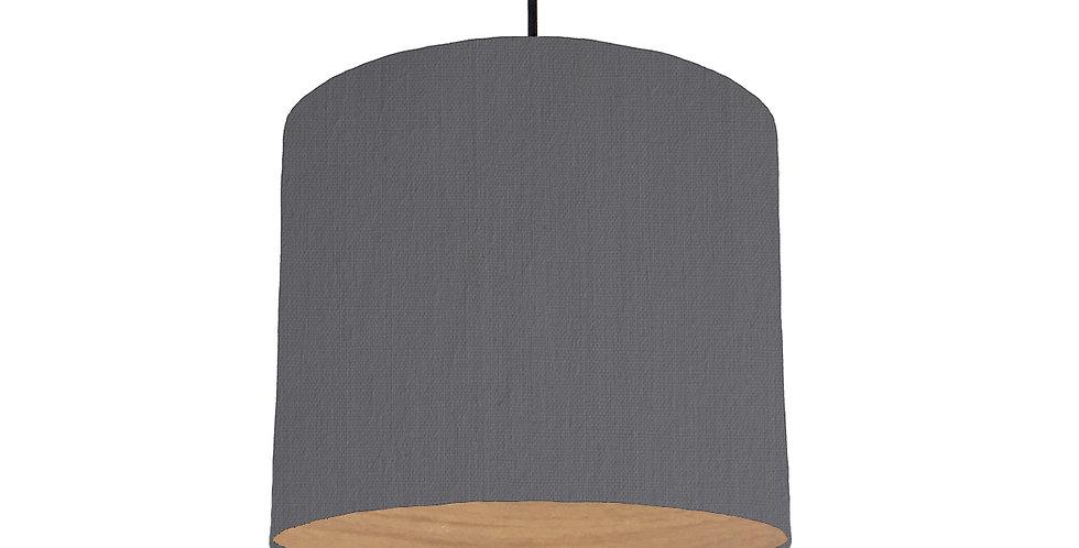 Dark Grey & Wood Lined Lampshade - 25cm Wide