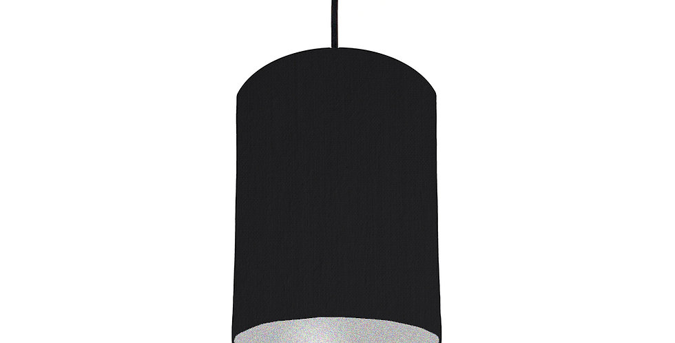 Black & Silver Matt Lampshade - 15cm Wide