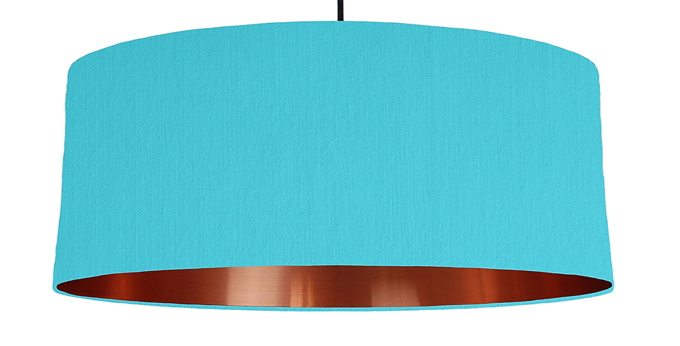 Turquoise & Copper Mirrored Lampshade - 70cm Wide