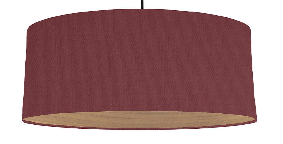 Wine Red & Wooden Lined Lampshade - 70cm Wide