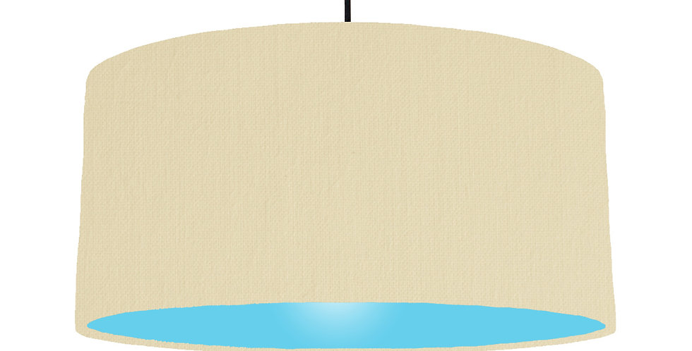 Natural & Light Blue Lampshade - 60cm Wide