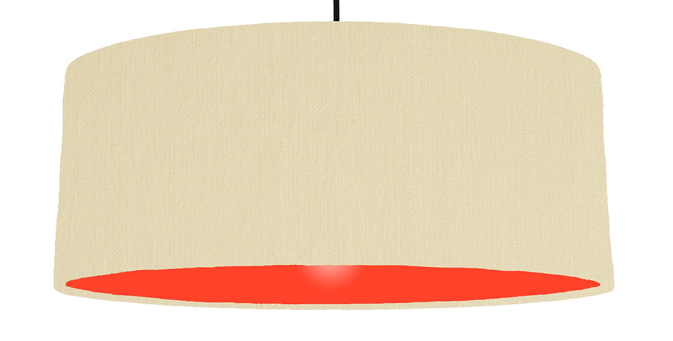 Natural & Poppy Red Lampshade - 70cm Wide