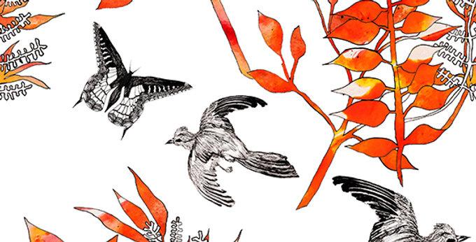 Botanical Bird Fabric -White & Red