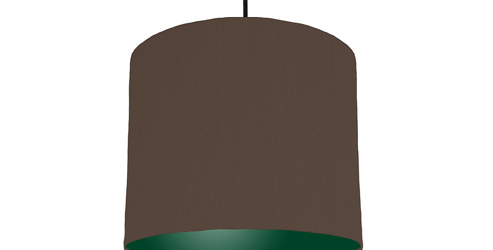 Brown & Forest Green Lampshade - 25cm Wide