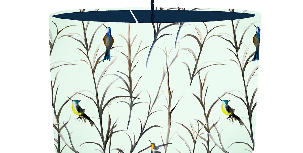 Watercolour Bird Lampshade - Colour Lining