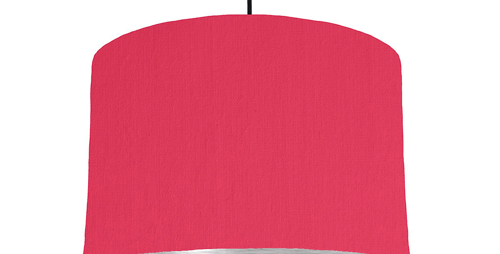 Cerise & Brushed Silver Lampshade - 30cm Wide