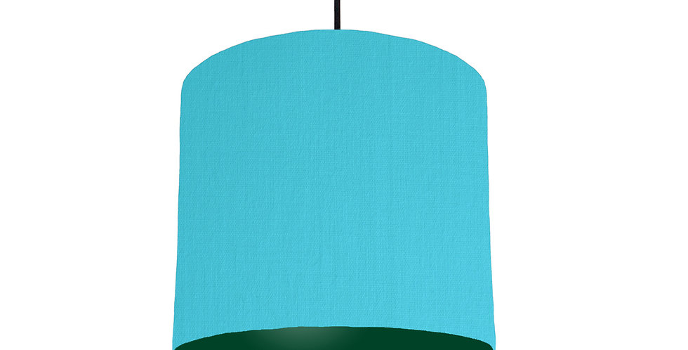 Turquoise & Forest Green Lampshade - 25cm Wide