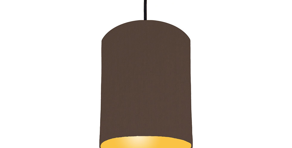 Brown & Butter Yellow Lampshade - 15cm Wide
