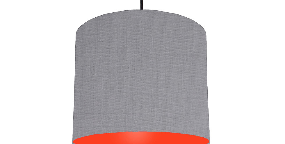 Light Grey & Poppy Red Lampshade - 25cm Wide