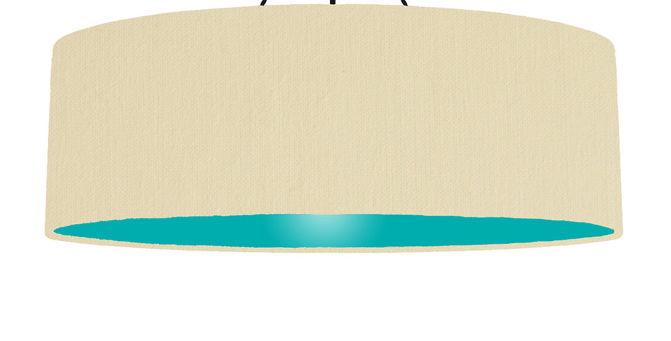 Natural & Turquoise Lampshade - 100cm Wide