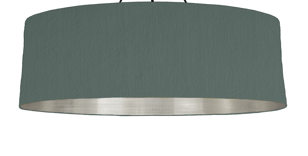 Bottle Green & Brushed Silver Lampshade - 100cm Wide