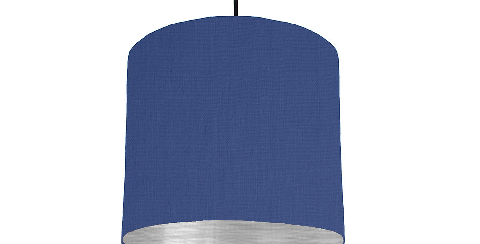 Royal Blue & Brushed Silver Lampshade - 25cm Wide