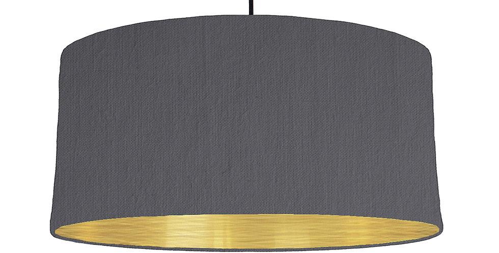 Dark Grey & Brushed Gold Lampshade - 60cm Wide