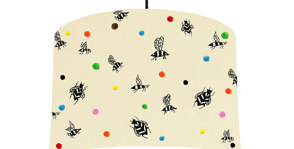 Bee Pom Pom Lampshade - White Lining