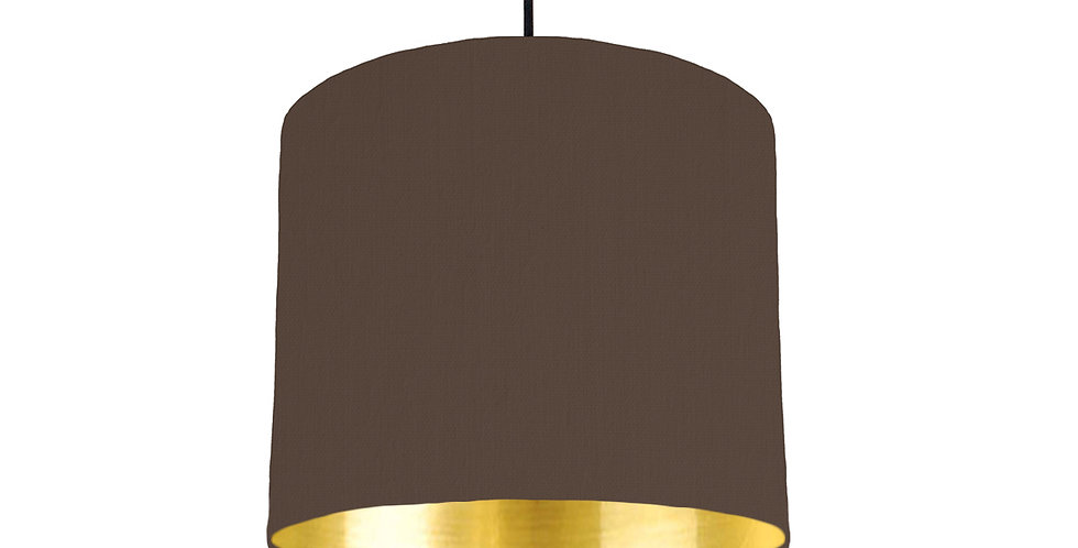 Brown & Gold Mirrored Lampshade - 25cm Wide