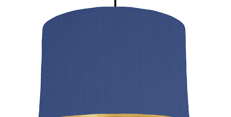 Royal Blue & Brushed Gold Lampshade - 30cm Wide