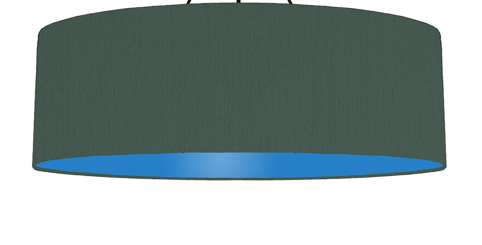 Bottle Green & Bright Blue Lampshade - 100cm Wide