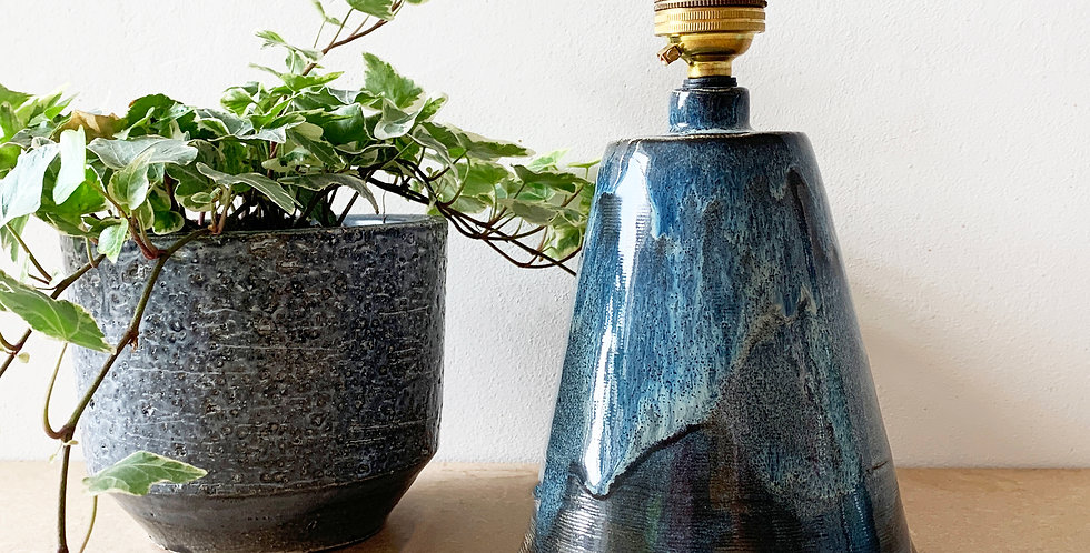 Small Conical Blue Bespoke Ceramic Table Lamp Base