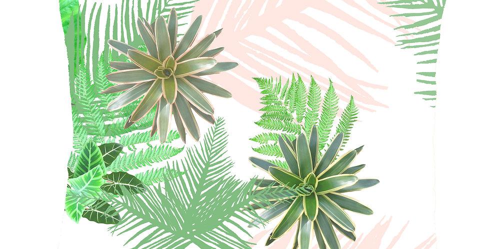 Digital Tropical Plant Velvet Cushion - White