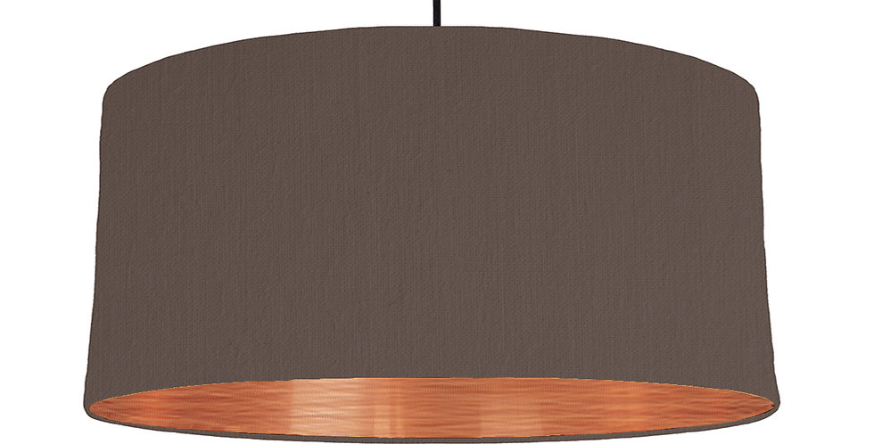 Brown & Brushed Copper Lampshade - 60cm Wide
