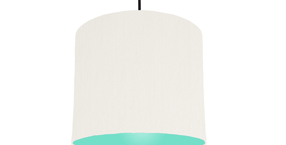 White & Mint Lampshade - 25cm Wide