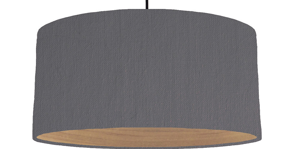 Dark Grey & Wooden Lined Lampshade - 60cm Wide