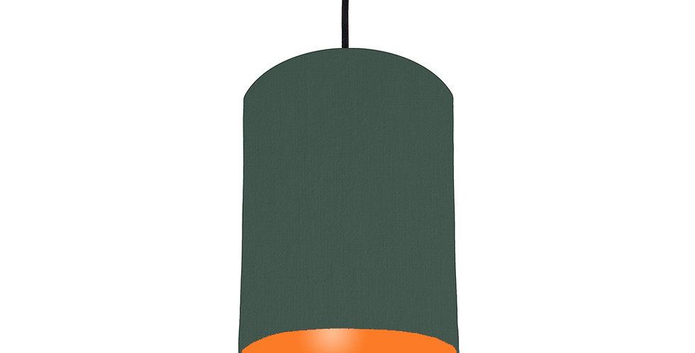 Bottle Green & Orange Lampshade - 15cm Wide