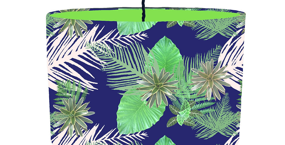 Digital Tropical Plant Lampshade (Blue) - Colour Lining